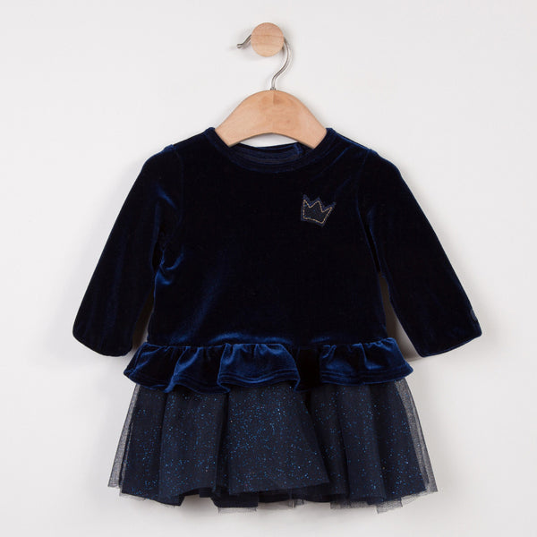 Catimini Baby Midnight Blue Velvet Tulle Dress