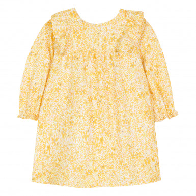 Tartine et Chocolat Little Girl's Saffron Dress with Yellow Floral Print
