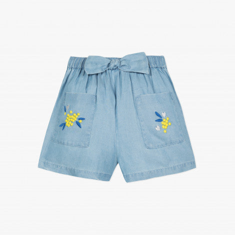 Catimini Girl's Bleached Denim Shorts with Embroidered Mimosas
