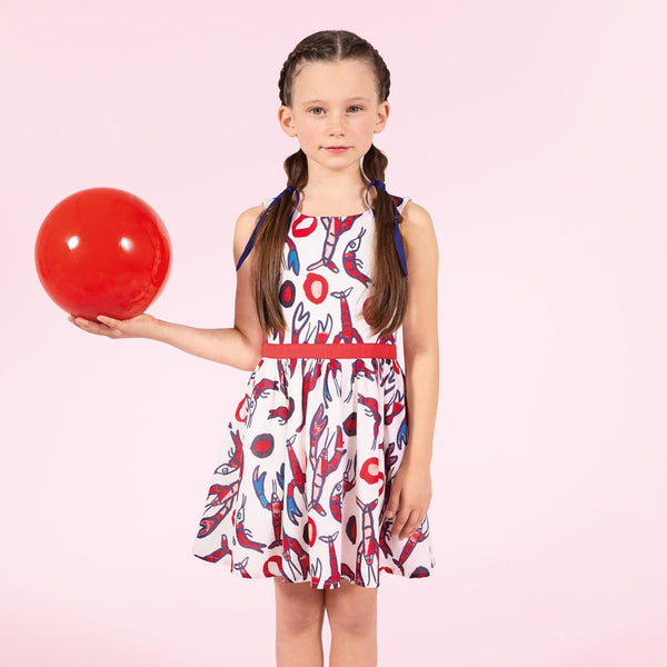 Catimini Girl's Lobster Printed Voile Dress (4Y, 5Y, 6Y)