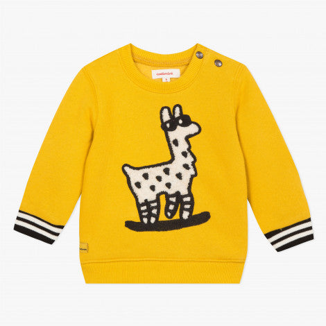Catimini Little Boy Yellow Fleece Llama Jacket