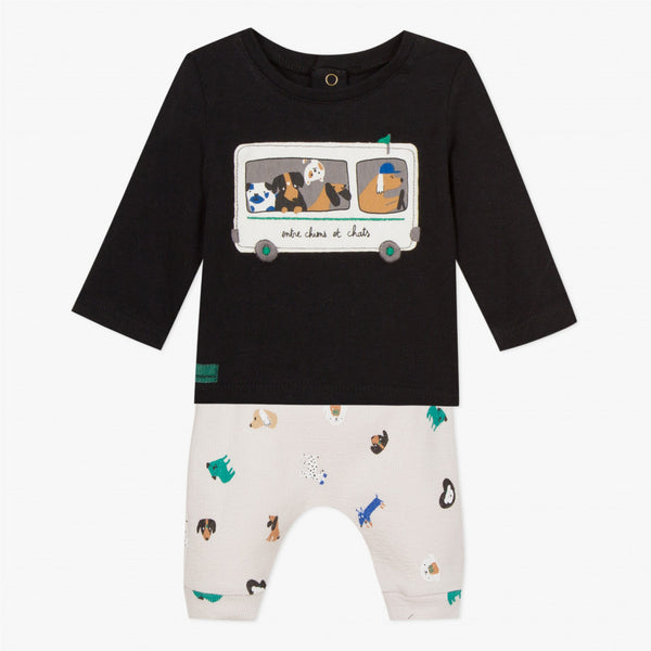 Catimini Baby Boy Bus Patch T-shirt with Double Jersey Print Pants