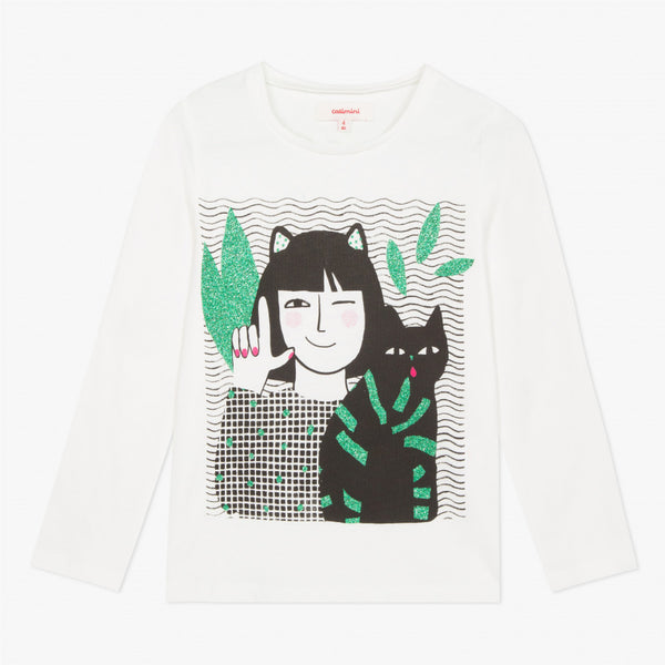 Catimini Girl's T-shirt with Glitter Cat Design