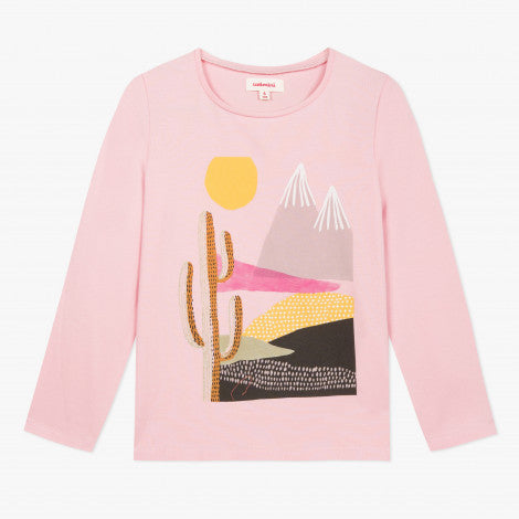 Catimini Girl Graphic T-shirt with Landscape and Glitter