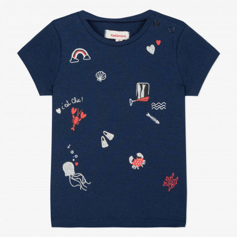 Catimini Baby Girl Navy Blue T-shirt with Marine Print