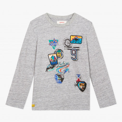 Catimini Boy Grey Mottled T-shirt with Badges and Emblems