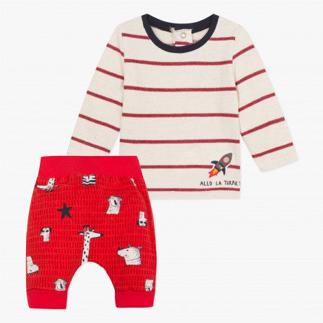 Catimini Baby Boy Fashion Stripe T-shirt and Pants