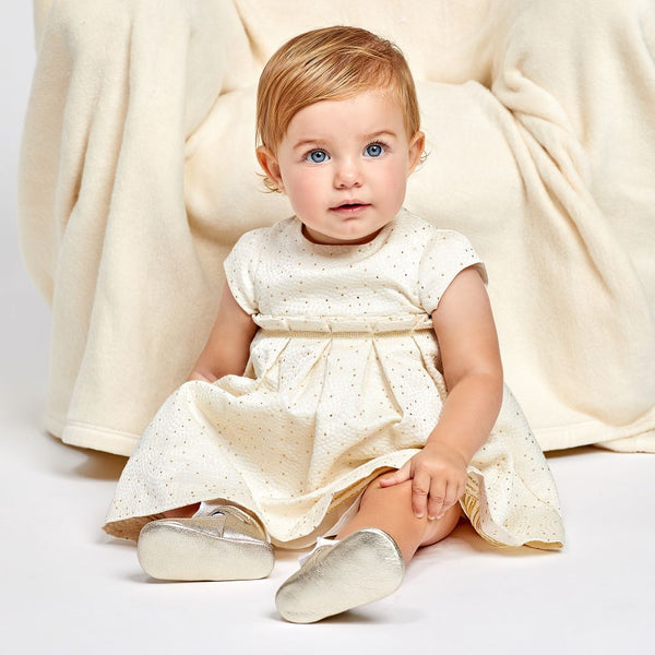 Ivory & Gold Satin Dress by Tartine et Chocolat