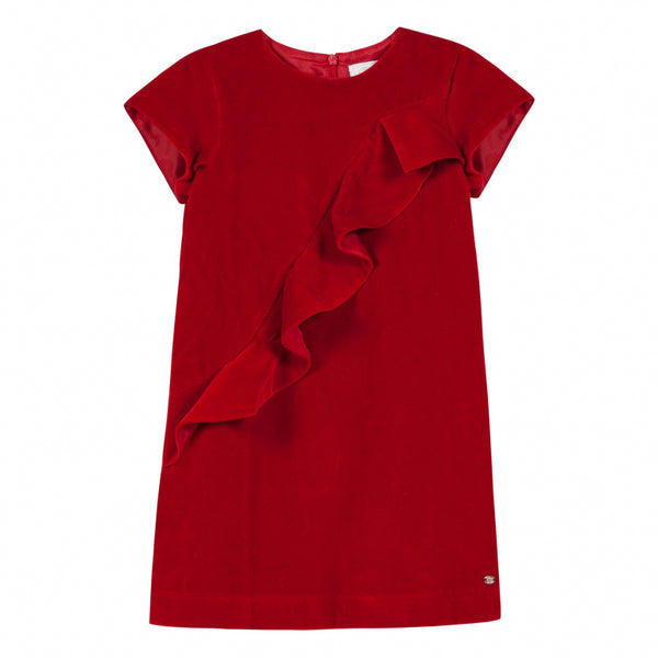 Tartine et Chocolat Red Velvet Dress with Ruffles
