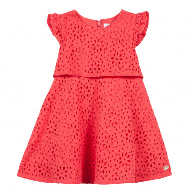Coral Dress with Broderie Anglaise by Tartine et Chocolat