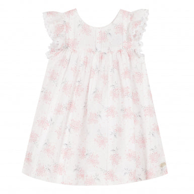 White and Pink Pinafore Dress with Hydrangea Print by Tartine et Chocolat