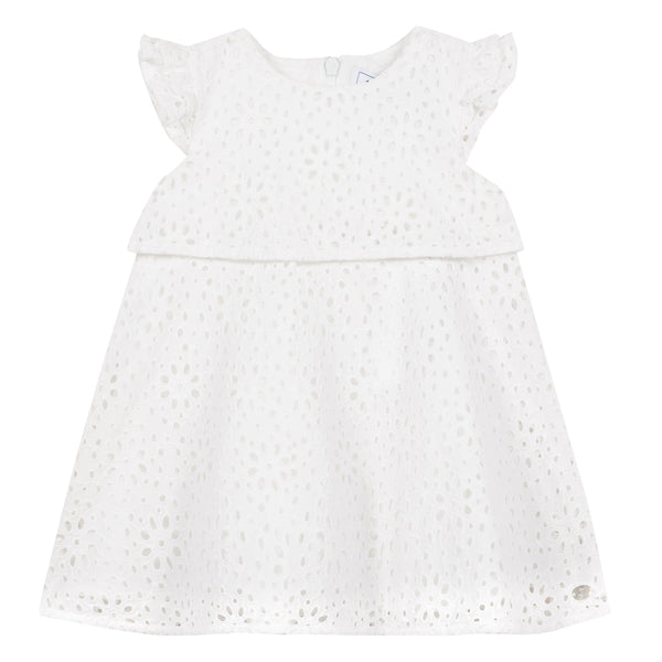White Dress with Broderie Anglaise by Tartine et Chocolat