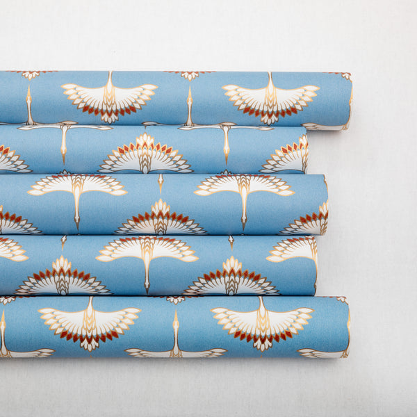 Wrapping Paper Cranes French Blue