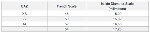 french scale ring size
