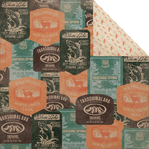 Outdoor Trail Timber Scrapbook Paper