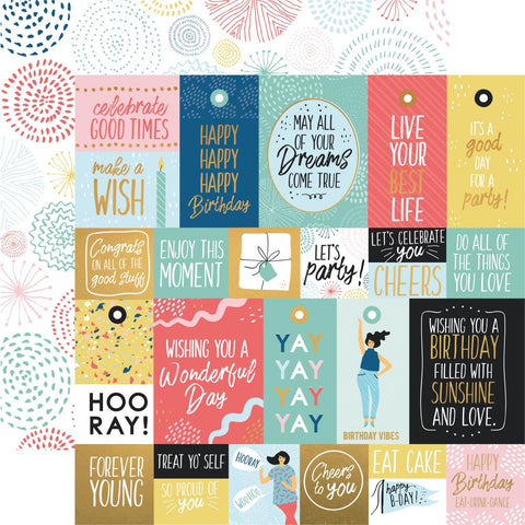 Birthday Happy Day Bright Bursts Scrapbook Paper