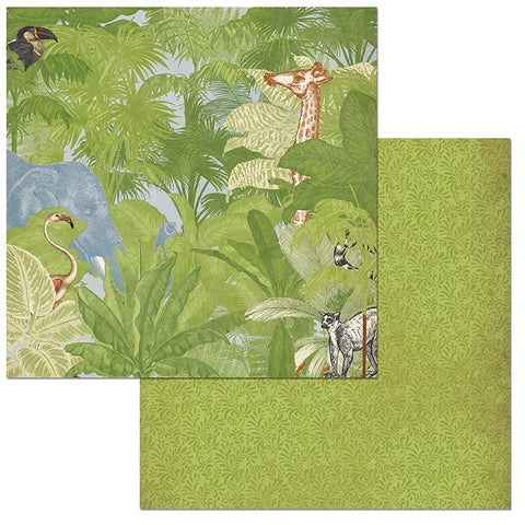Jungle Life Zoo Animals Scrapbook Paper
