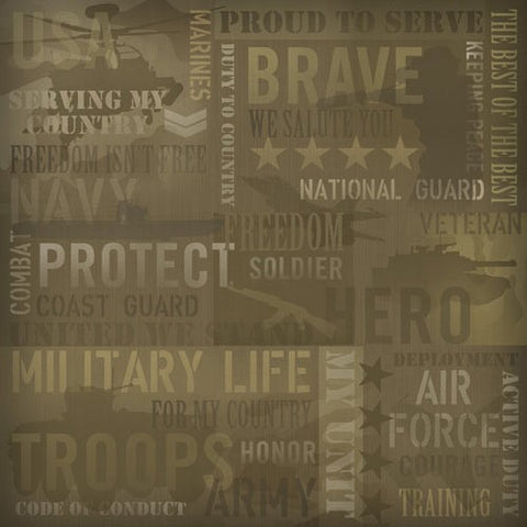 Military Collage Patriotic Scrapbook Paper