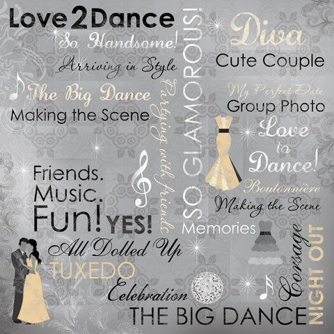 School Prom Night Dance Scrapbook Paper