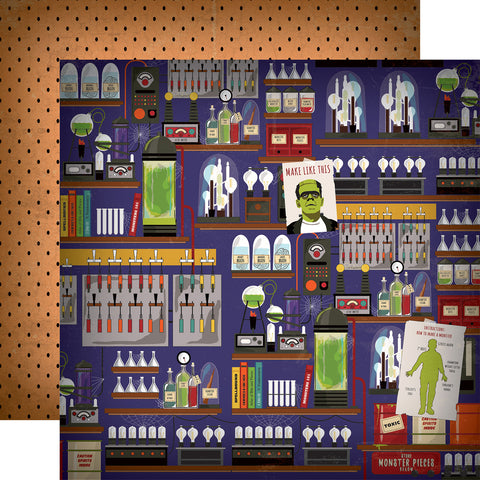 Halloween Haunted House Mad Scientist Scrapbook Paper