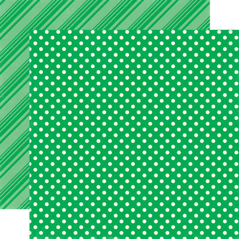 Polka Dots Stripes Green Scrapbook Paper
