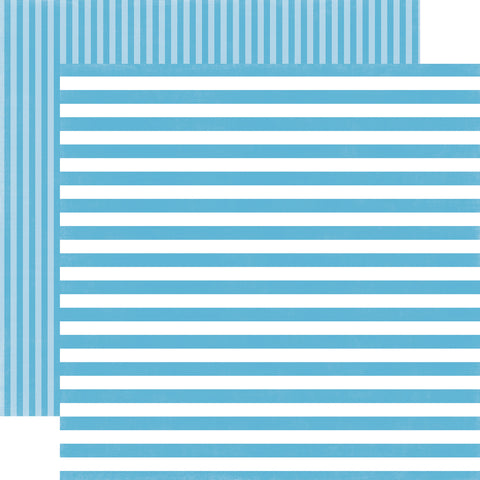 Stripes Poolside Blue Scrapbook Paper