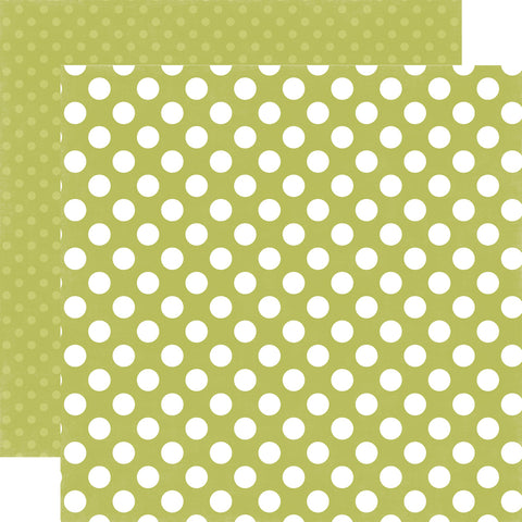 Polka Dots Inchworm Green Scrapbook Paper