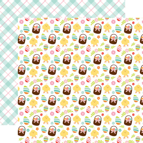 Hello Easter Baskets Scrapbook Paper