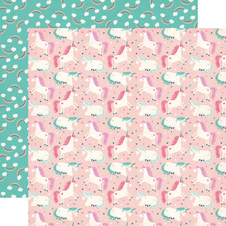 Girl Unicorns Rainbows Scrapbook Paper