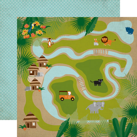 Jungle Animals Safari Map Zoo Scrapbook Paper