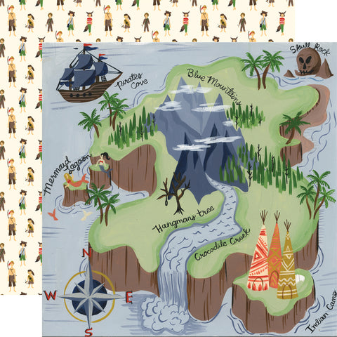 Magic Peter Pan Off to Neverland Scrapbook Paper