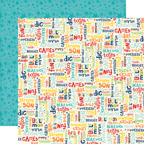 Little Man Boy Words Stars Scrapbook Paper
