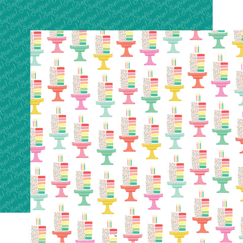 Birthday Let's Party Cut the Cake Scrapbook Paper