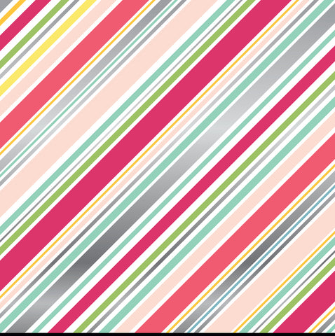 Foil Stripes Pink Scrapbook Paper