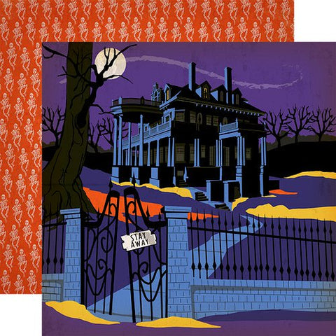 Halloween Haunted House Scrapbook Paper