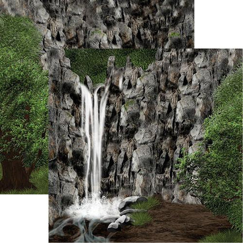 Hidden Oasis Waterfall Scrapbook Paper