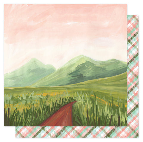 Landscape Willow Mountain Path Scrapbook Paper