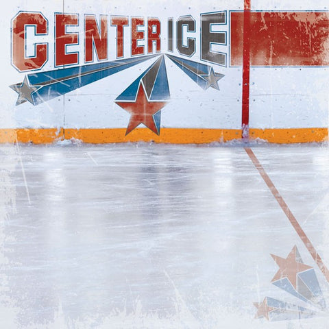 Hockey Center Ice Scrapbook Paper