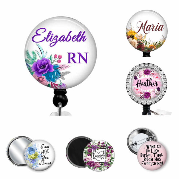 Personalized badge reels for nurses, RN, PCT, hospice nurses, case managers, office workers, ER nurse, trauma nurses, and all occupations.  Offering stethoscope ID tags, lanyards, yoke tags, and carabiners.