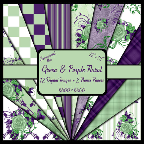 Green and Purple Digital Paper Pack - Diane Tu Getit
