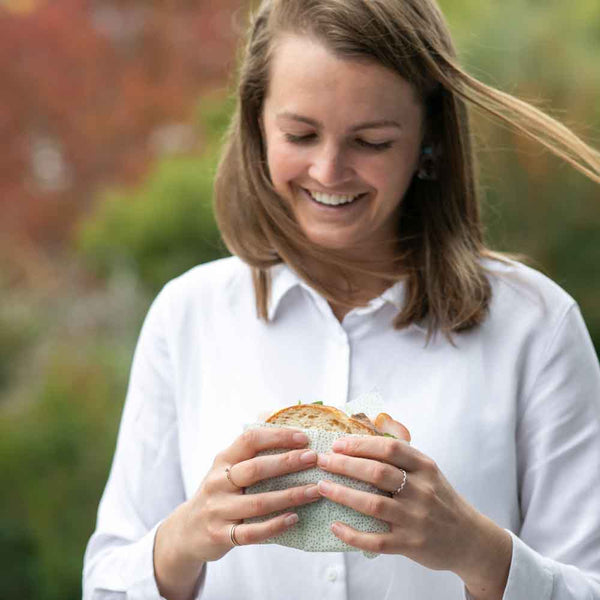 Bronwyn is happy with her fresh and crusty sandwich wrapped in a beeswax wrap