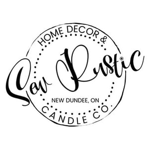 Sew rustic logo, custom soy candles