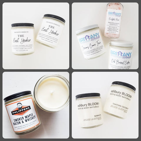 Custom candles by Sew Rustic