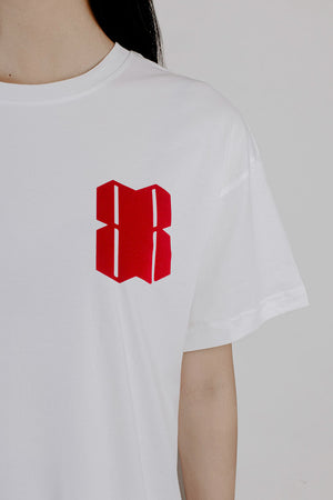 RED VELOUR LOGO WHITE T-SHIRT