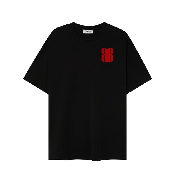 RED VELOUR LOGO BLACK T-SHIRT