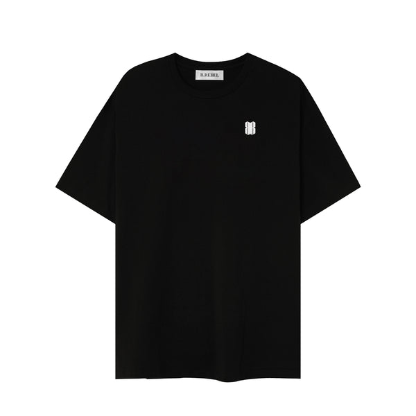 WHITE LOGO BLACK T-SHIRT