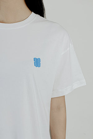 BLUE LOGO WHITE T-SHIRT