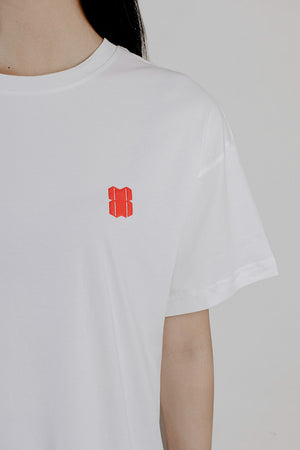 RED LOGO WHITE T-SHIRT