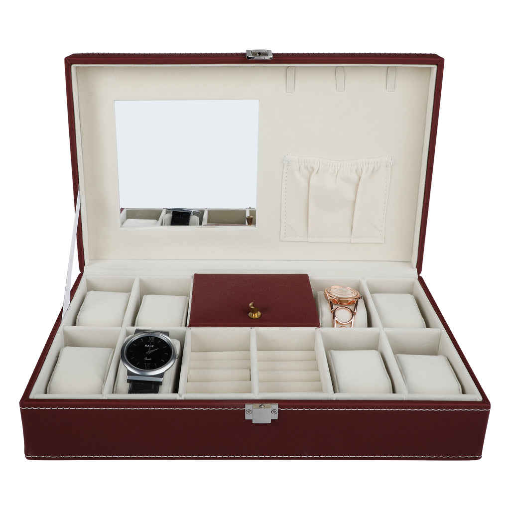 Anything & Everything Leatherite Watch And Jewelry Box Organizer For Men & Women (RED WINE)