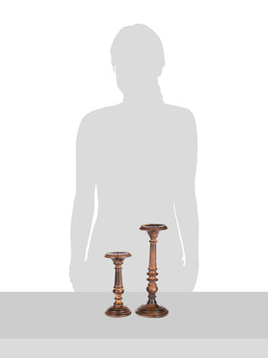 Anything & Everything Handmade Wooden Candle Holder Stand for Home Decor on Christmas and Diwali (Set of 2) - Burned